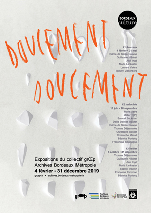 Doucement doucement, affiche de l'expostion grŒp aux Archives Bordeaux Metropole, 2019
